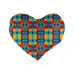 Pop Art Abstract Design Pattern Standard 16  Premium Heart Shape Cushions