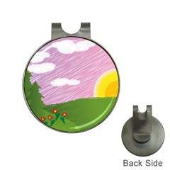 Pine Trees Trees Sunrise Sunset Hat Clips With Golf Markers