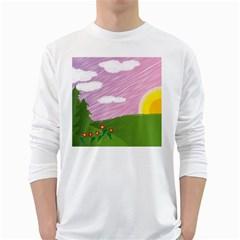 Pine Trees Trees Sunrise Sunset White Long Sleeve T Shirts