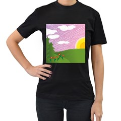 Pine Trees Trees Sunrise Sunset Women s T Shirt (black)