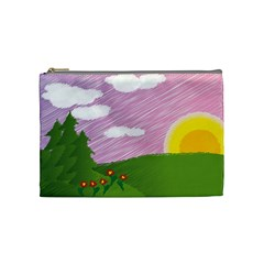 Pine Trees Trees Sunrise Sunset Cosmetic Bag (medium)