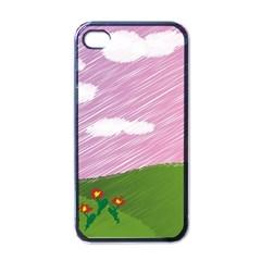 Pine Trees Trees Sunrise Sunset Apple Iphone 4 Case (black)