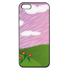 Pine Trees Trees Sunrise Sunset Apple Iphone 5 Seamless Case (black)