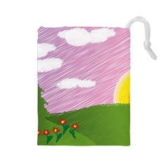 Pine Trees Trees Sunrise Sunset Drawstring Pouches (large)