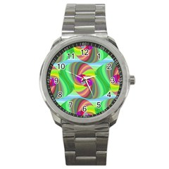 Seamless Pattern Twirl Spiral Sport Metal Watch