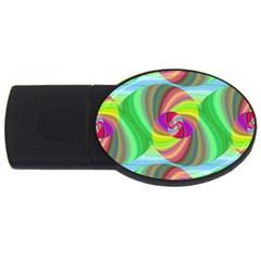 Seamless Pattern Twirl Spiral Usb Flash Drive Oval (4 Gb)