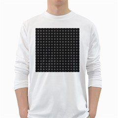 Kaleidoscope Seamless Pattern White Long Sleeve T Shirts