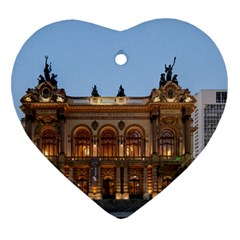 Municipal Theatre Of Sao Paulo Brazil Ornament (heart)