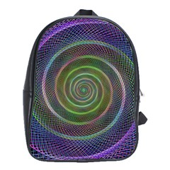 Spiral Fractal Digital Modern School Bag (xl)
