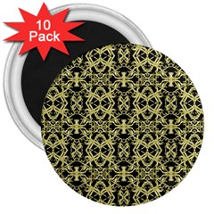 Golden Ornate Intricate Pattern 3  Magnets (10 Pack)