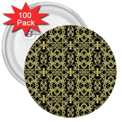 Golden Ornate Intricate Pattern 3  Buttons (100 Pack)