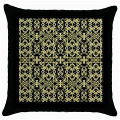 Golden Ornate Intricate Pattern Throw Pillow Case (black)