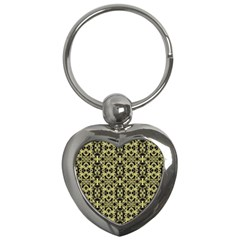 Golden Ornate Intricate Pattern Key Chains (heart)