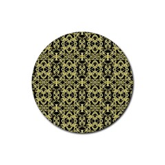 Golden Ornate Intricate Pattern Rubber Round Coaster (4 Pack)