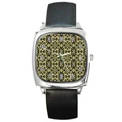 Golden Ornate Intricate Pattern Square Metal Watch