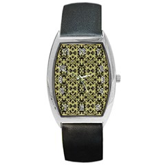 Golden Ornate Intricate Pattern Barrel Style Metal Watch