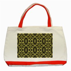 Golden Ornate Intricate Pattern Classic Tote Bag (red)