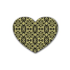 Golden Ornate Intricate Pattern Rubber Coaster (heart)