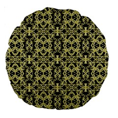 Golden Ornate Intricate Pattern Large 18  Premium Round Cushions