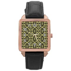 Golden Ornate Intricate Pattern Rose Gold Leather Watch