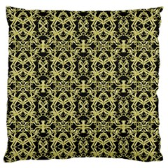 Golden Ornate Intricate Pattern Large Flano Cushion Case (one Side)