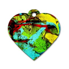 Yellow Dolphins   Blue Lagoon 6 Dog Tag Heart (one Side) by bestdesignintheworld