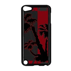 Red And Grey Silhouette Palm Tree Apple Ipod Touch 5 Case (black)