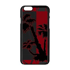 Red And Grey Silhouette Palm Tree Apple Iphone 6/6s Black Enamel Case