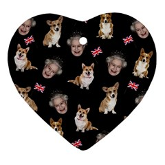 Queen Elizabeth s Corgis Pattern Ornament (heart)