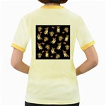 Queen Elizabeth s corgis pattern Women s Fitted Ringer T-Shirts Back