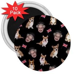 Queen Elizabeth s Corgis Pattern 3  Magnets (10 Pack)