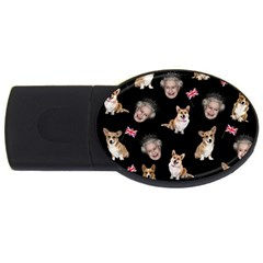 Queen Elizabeth s Corgis Pattern Usb Flash Drive Oval (4 Gb)