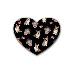 Queen Elizabeth s Corgis Pattern Heart Coaster (4 Pack)