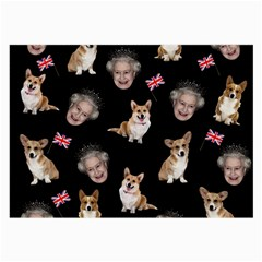 Queen Elizabeth s Corgis Pattern Large Glasses Cloth