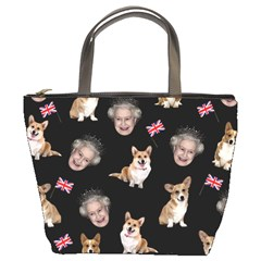 Queen Elizabeth s Corgis Pattern Bucket Bags