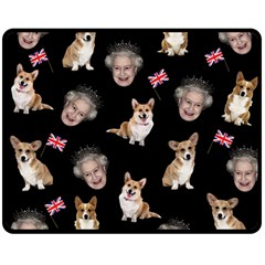 Queen Elizabeth s Corgis Pattern Fleece Blanket (medium)