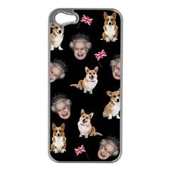 Queen Elizabeth s Corgis Pattern Apple Iphone 5 Case (silver)