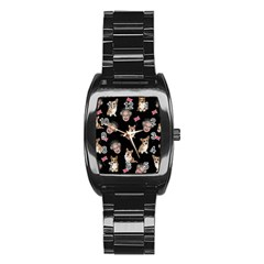 Queen Elizabeth s Corgis Pattern Stainless Steel Barrel Watch