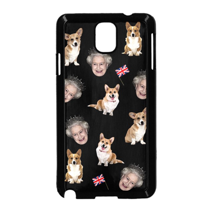 Queen Elizabeth s corgis pattern Samsung Galaxy Note 3 Neo Hardshell Case (Black)