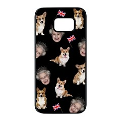 Queen Elizabeth s Corgis Pattern Samsung Galaxy S7 Edge Black Seamless Case