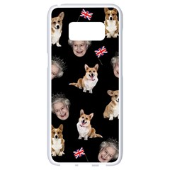Queen Elizabeth s Corgis Pattern Samsung Galaxy S8 White Seamless Case