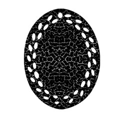 Cracked Dark Texture Pattern Oval Filigree Ornament (two Sides)