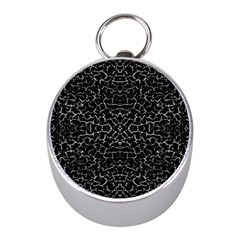 Cracked Dark Texture Pattern Mini Silver Compasses