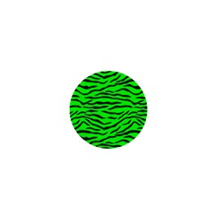Bright Neon Green And Black Tiger Stripes  1  Mini Magnets by PodArtist