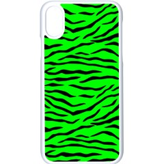 Bright Neon Green And Black Tiger Stripes  Apple Iphone X Seamless Case (white)