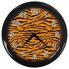 Orange And Black Tiger Stripes Wall Clocks (black) by PodArtist