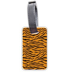 Orange And Black Tiger Stripes Luggage Tags (two Sides) by PodArtist
