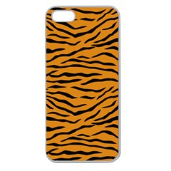 Orange And Black Tiger Stripes Apple Seamless Iphone 5 Case (clear) by PodArtist