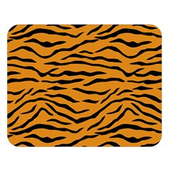 Orange And Black Tiger Stripes Double Sided Flano Blanket (large)  by PodArtist
