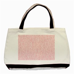 Elios Shirt Faces In White Outlines On Pale Pink Cmbyn Basic Tote Bag by PodArtist